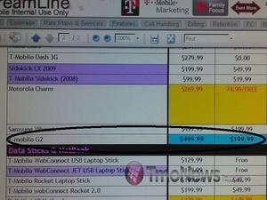 T-Mobile G2 pricing leaked